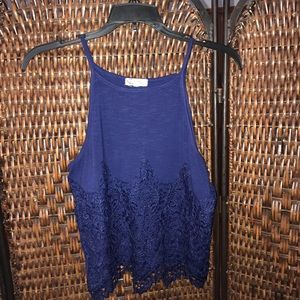 About A Girl lace bottom tank top